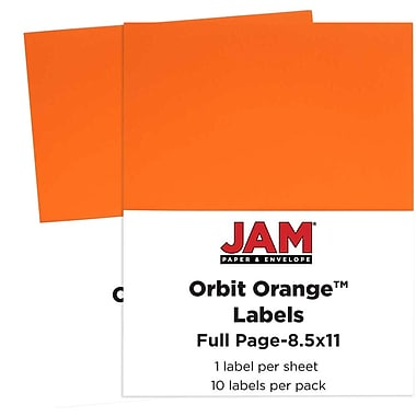 JAM Paper® Full Page Labels, 8.5 x 11 Sticker Paper, AstroBrights® Orbit Orange, 2 packs of 10 (337628612g)