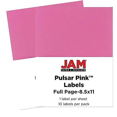 JAM Paper® Full Page Labels, 8.5 x 11 Sticker Paper, AstroBrights® Pulsar Pink, 2 packs of 10 (337628698g)