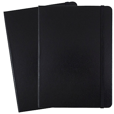JAM Paper® Hardcover Lined Notebook with Elastic Closure, Medium, 5 x 7 Journal, Black, 2/Pack (340526601g)