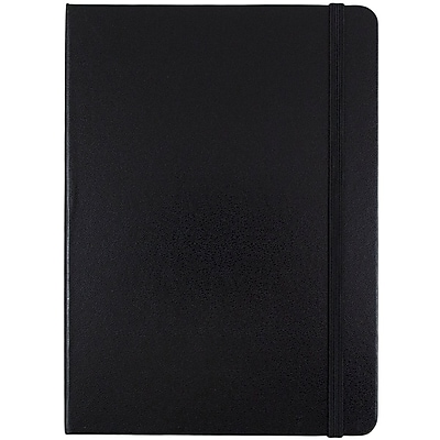 JAM Paper® Hardcover Lined Notebook with Elastic Closure, Medium, 5 x 7 Journal, Black, Sold Individually (340526601)