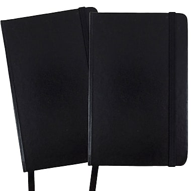 JAM Paper® Hardcover Lined Notebook With Elastic Closure, Small, 3.75 x 5.63 Journal, Black, 2/Pack (340526602g)