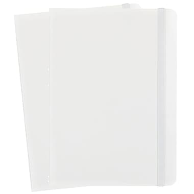 JAM Paper® Hardcover Lined Notebook with Elastic Closure, Medium, 5 x 7 Journal, White, 2/Pack (340526605g)