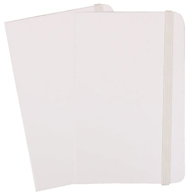 JAM Paper® Hardcover Lined Notebook With Elastic Closure, Small, 3.75 x 5.63 Journal, White, 2/Pack (340526606g)