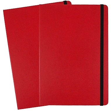 JAM Paper® Hardcover Lined Notebook with Elastic Closure, Large, 5.88 x 8.5 Journal, Red, 2/Pack (340526610g)