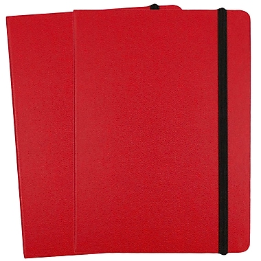 JAM Paper® Hardcover Lined Notebook with Elastic Closure, Medium, 5 x 7 Journal, Red, 2/Pack (340526611g)