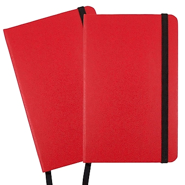 JAM Paper® Hardcover Lined Notebook With Elastic Closure, Small, 3.75 x 5.63 Journal, Red, 2/Pack (340526612g)