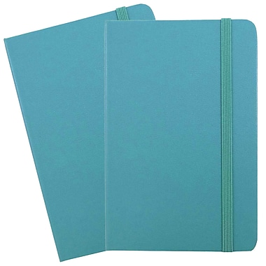 JAM Paper® Hardcover Lined Notebook With Elastic Closure, Travel Size, 4 x 6 Journal, Caribbean Blue, 2/Pack (340528850g)