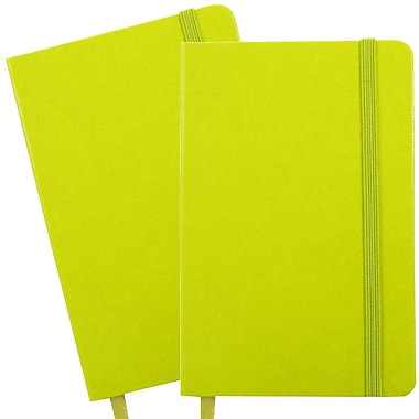 JAM Paper® Hardcover Lined Notebook With Elastic Closure, Travel Size, 4 x 6 Journal, Green Apple, 2/Pack (340528852g)