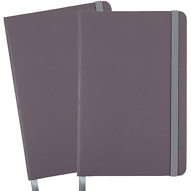 JAM Paper® Hardcover Lined Notebook With Elastic Closure, Travel Size, 4 x 6 Journal, Grey, 2/Pack (340528853g)