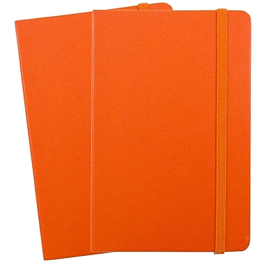 JAM Paper® Hardcover Lined Notebook with Elastic Closure, Large, 5.88 x 8.5 Journal, Orange, 2/Pack (340528854g)