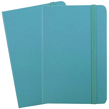 JAM Paper® Hardcover Lined Notebook with Elastic Closure, Large, 5.88 x 8.5 Journal, Caribbean Blue, 2/Pack (340528855g)