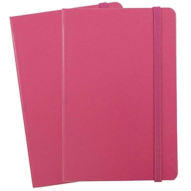 JAM Paper® Hardcover Lined Notebook with Elastic Closure, Large, 5.88 x 8.5 Journal, Pink Berry, 2/Pack (340528856g)