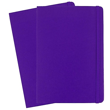 JAM Paper® Hardcover Lined Notebook with Elastic Closure, Large, 5.88 x 8.5 Journal, Plum Purple, 2/Pack (340528857g)