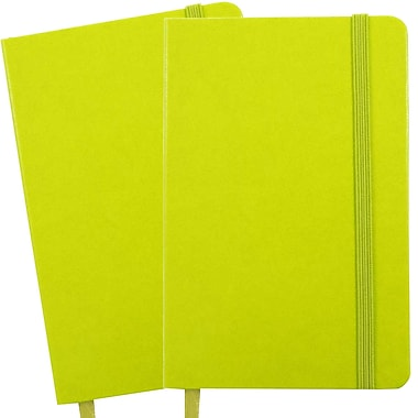 JAM Paper® Hardcover Lined Notebook with Elastic Closure, Large, 5.88 x 8.5 Journal, Green Apple, 2/Pack (340528859g)