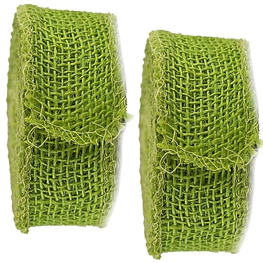 JAM Paper® Burlap Ribbon, 1.5 inch wide x 10 Yards, Lime Green, 2/Pack (344226948g)