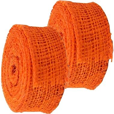 JAM Paper® Burlap Ribbon, 1.5 inch wide x 10 Yards, Orange, 2/Pack (344226955g)