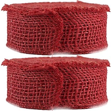 JAM Paper® Burlap Ribbon, 1.5 inch wide x 10 Yards, Red, 2/Pack (344226957g)