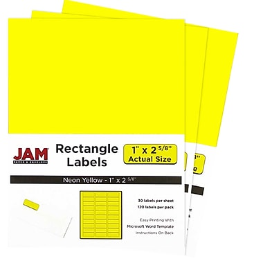 JAM Paper® Mailing Address Labels, 1 x 2 5/8, Neon Yellow, 3 packs of 120 (354328008g)