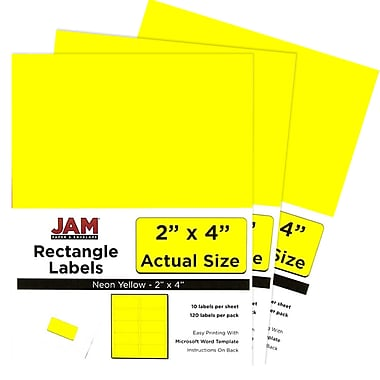 JAM Paper® Mailing Address Labels, 2 x 4, Neon Yellow, 3 packs of 120 (354328020g)