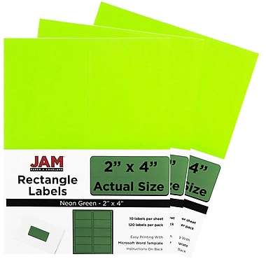 JAM Paper® Mailing Address Labels, 3 1/3 x 4, Neon Green, 3 packs of 120 (354328037g)