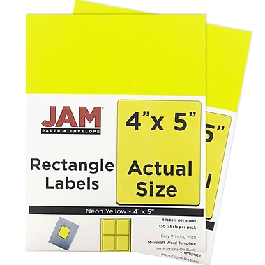 JAM Paper® Mailing Address Labels, 4 x 5, Neon Yellow, 2 packs of 120 (354329153g)