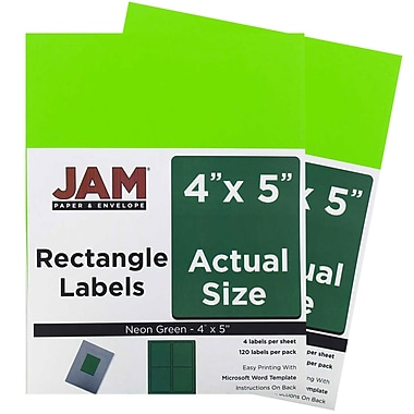 JAM Paper® Mailing Address Labels, 4 x 5, Neon Green, 2 packs of 120 (354329156g)