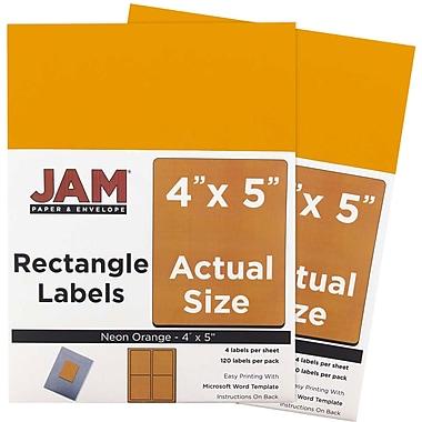 JAM Paper® Mailing Address Labels, 4 x 5, Neon Orange, 2 packs of 120 (354329159g)