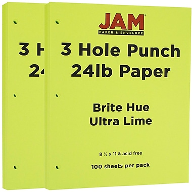 JAM Paper® 3 Hole Punched Paper, 8.5 x 11, 24lb Brite Hue Ultra Lime Green, 2 packs of 100 (354428160g)