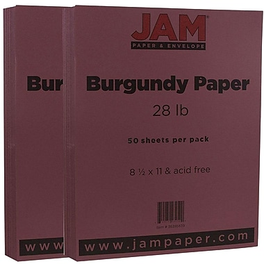 JAM Paper® Matte Paper, 8.5 x 11, 28lb Burgundy, 2 packs of 50 (36395839g)
