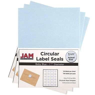JAM Paper® Round Circle Label Sticker Seals, 1 2/3 inch diameter, Baby Blue, 3 packs of 120 (40528290g)