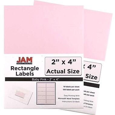 JAM PaperMD – Étiquettes postales, 4 x 2 po, rose bébé, 10 par page, 240 par paquet