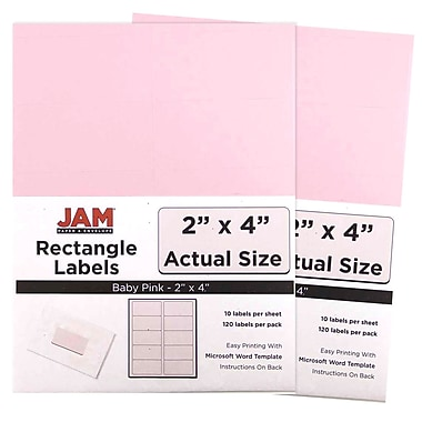 JAM Paper® Mailing Address Labels, 3 1/3 x 4, Baby Pink, 2 packs of 120 (4052899g)