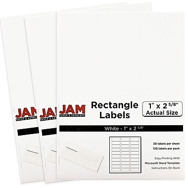 JAM Paper® Mailing Address Labels, 1 x 2 5/8, White, 3 packs of 120 (4062900g)