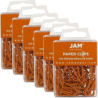 JAM Paper® Coloured Standard Paper Clips, Small, Orange Paperclips, 600/Pack (42186870g)