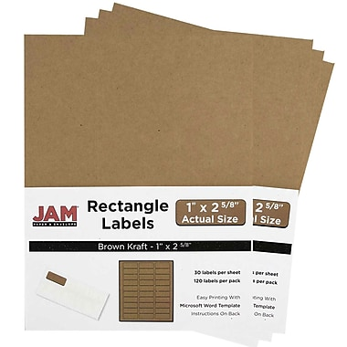 JAM Paper® Mailing Address Labels, 1 x 2 5/8, Brown Kraft, 4 packs of 120 (4513701g)
