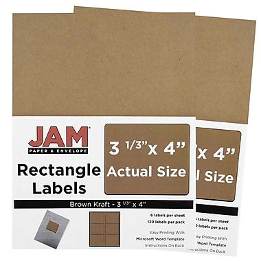 JAM Paper® Mailing Address Labels, 3 1/3 x 4, Brown Kraft, 2 packs of 120 (4513702g)