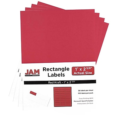 JAM PaperMD – Étiquettes postales, 2 5/8 x 1 po, papier kraft rouge, 30 par page, 480 par paquet