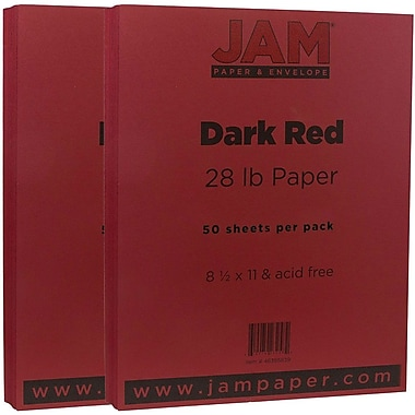 JAM Paper® Matte Paper, 8.5 x 11, 28lb Dark Red, 2 packs of 50 (46395839g)