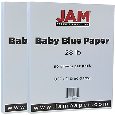 JAM Paper® Matte Paper, 8.5 x 11, 28lb Baby Blue, 2 packs of 50 (5155794g)
