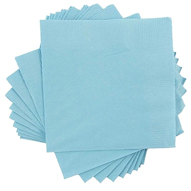 JAM Paper® Small Beverage Napkins, Small, 5 x 5, Sea Blue, 10 packs of 50 (5255620711g)