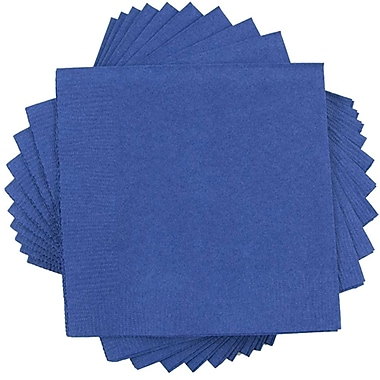 JAM Paper® Small Beverage Napkins, Small, 5 x 5, Blue, 10 packs of 50 (5255620717g)