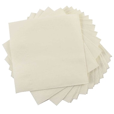 JAM Paper® Small Beverage Napkins, Small, 5 x 5, Ivory, 10 packs of 50 (5255620721g)