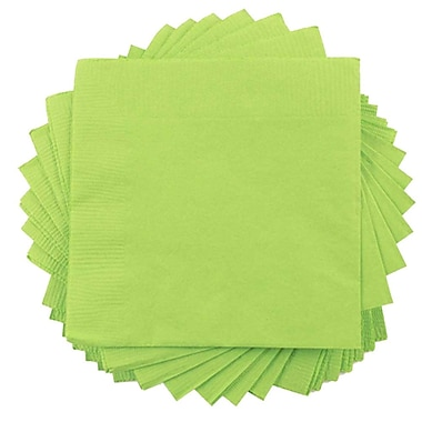 JAM Paper® Small Beverage Napkins, Small, 5 x 5, Lime Green, 10 packs of 50 (5255620723g)
