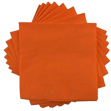 JAM Paper® Small Beverage Napkins, Small, 5 x 5, Orange, 10 packs of 50 (5255620725g)