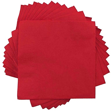 JAM Paper® Small Beverage Napkins, Small, 5 x 5, Red, 10 packs of 50 (5255620729g)