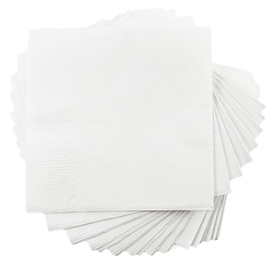 JAM Paper® Small Beverage Napkins, Small, 5 x 5, White, 10 packs of 50 (5255620731g)