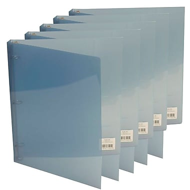 JAM Paper® Plastic 3 Ring Binder, 0.75 inch, Graphite Blue, 5/Pack (53016grbug)
