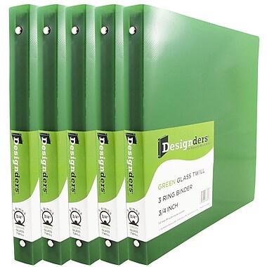 JAM PaperMD – Reliures en plastique à trois anneaux, -3/4 po, vert, 5/pqt