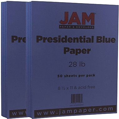 JAM Paper® Matte Paper, 8.5 x 11, 28lb Presidential Blue, 2 packs of 50 (563916924g)