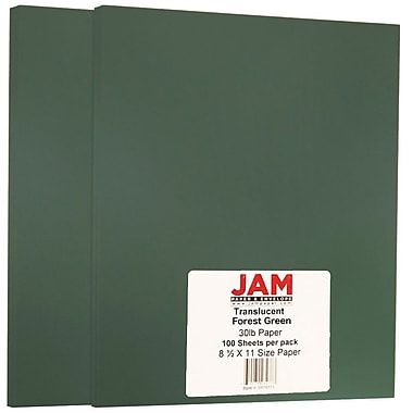 JAM Paper® Translucent Vellum Paper, 8.5 x 11, 30lb Forest Green, 2 packs of 100 (5974771g)